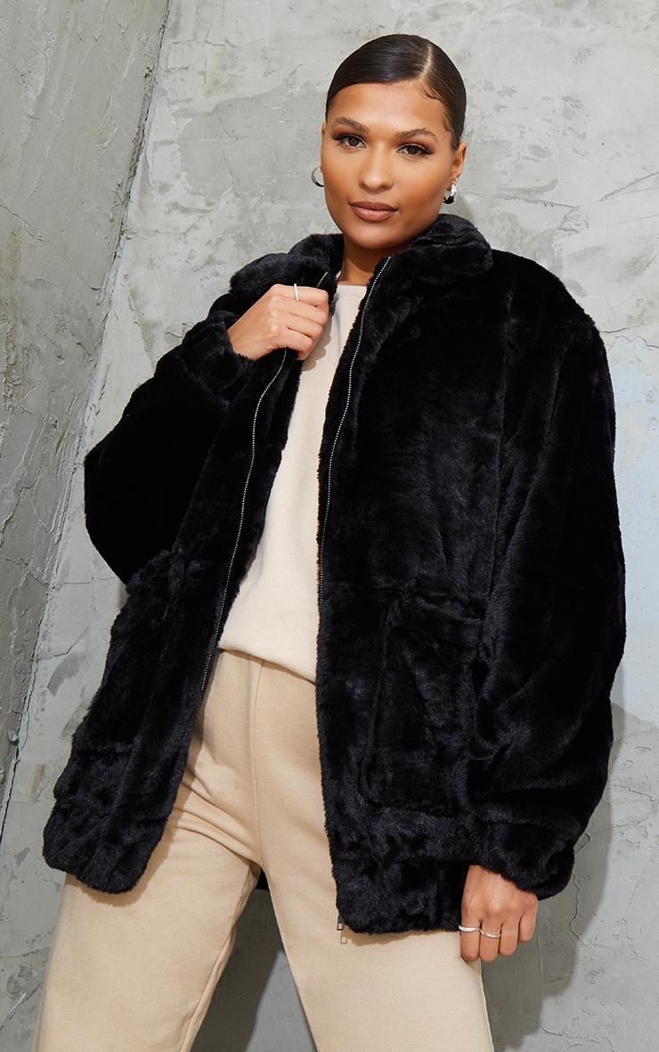 Black Pocket Front Faux Fur Coat 1