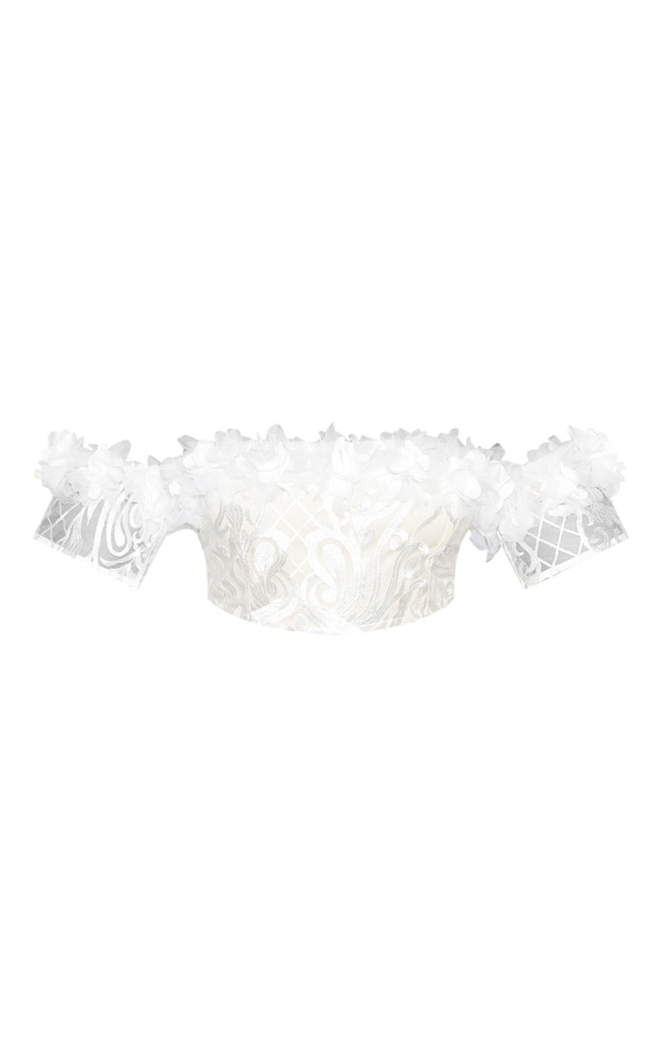 Plus Embroidered Frill Detail Bardot Crop Top 5