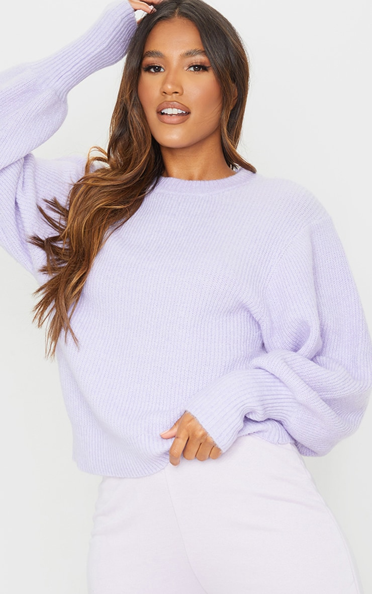 Lilac Extreme Balloon Sleeve Knitted Jumper 3