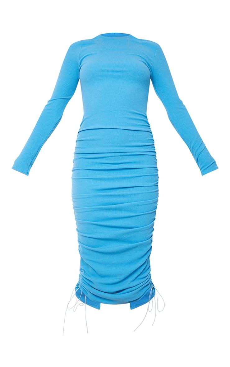 Blue Ribbed Long Sleeve Ruched Midi Dress 5