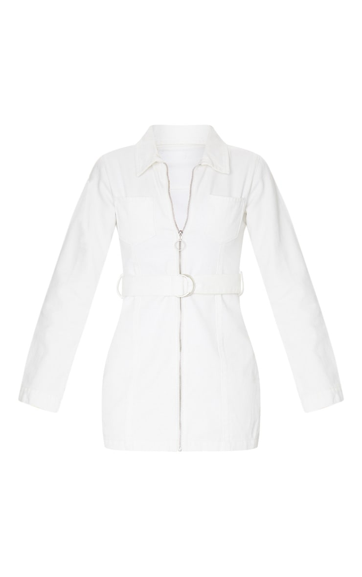 White Zip Up Belted Long Sleeve 2 Pocket Denim Dress 5