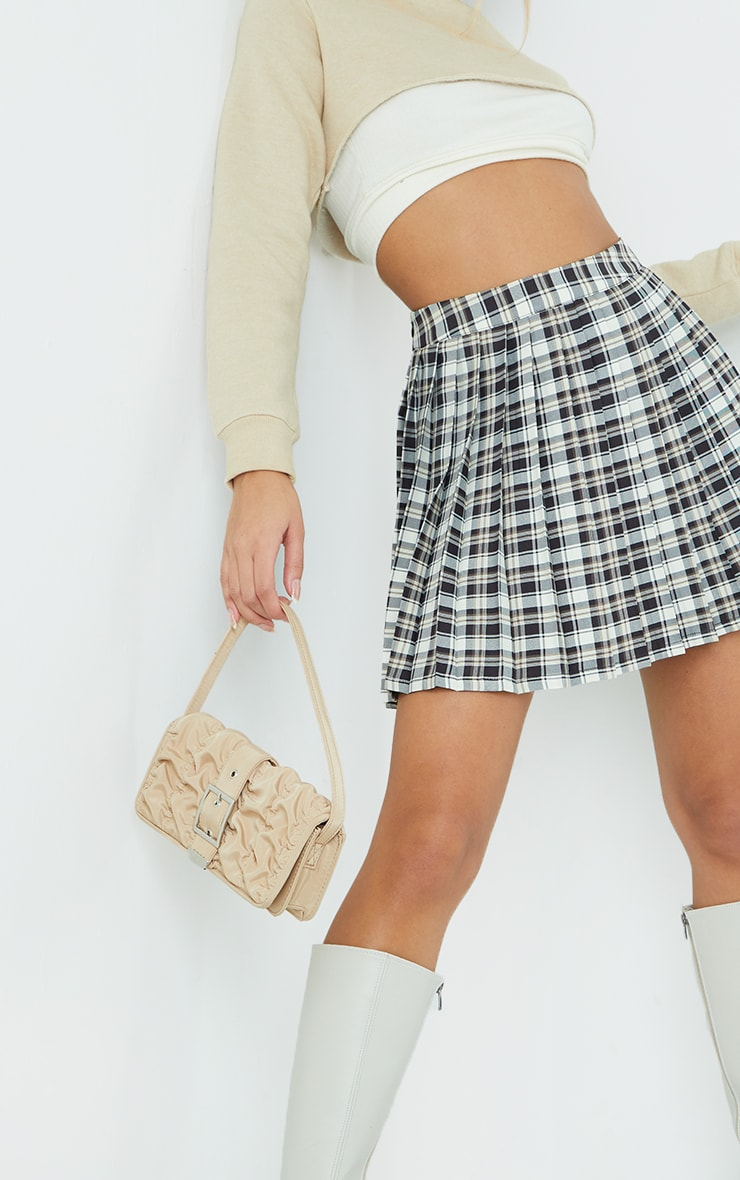White Check Woven Pleated Tennis Skirt 5