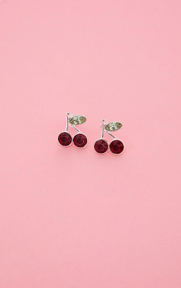 Silver Mini Cherry Stud Earrings 1