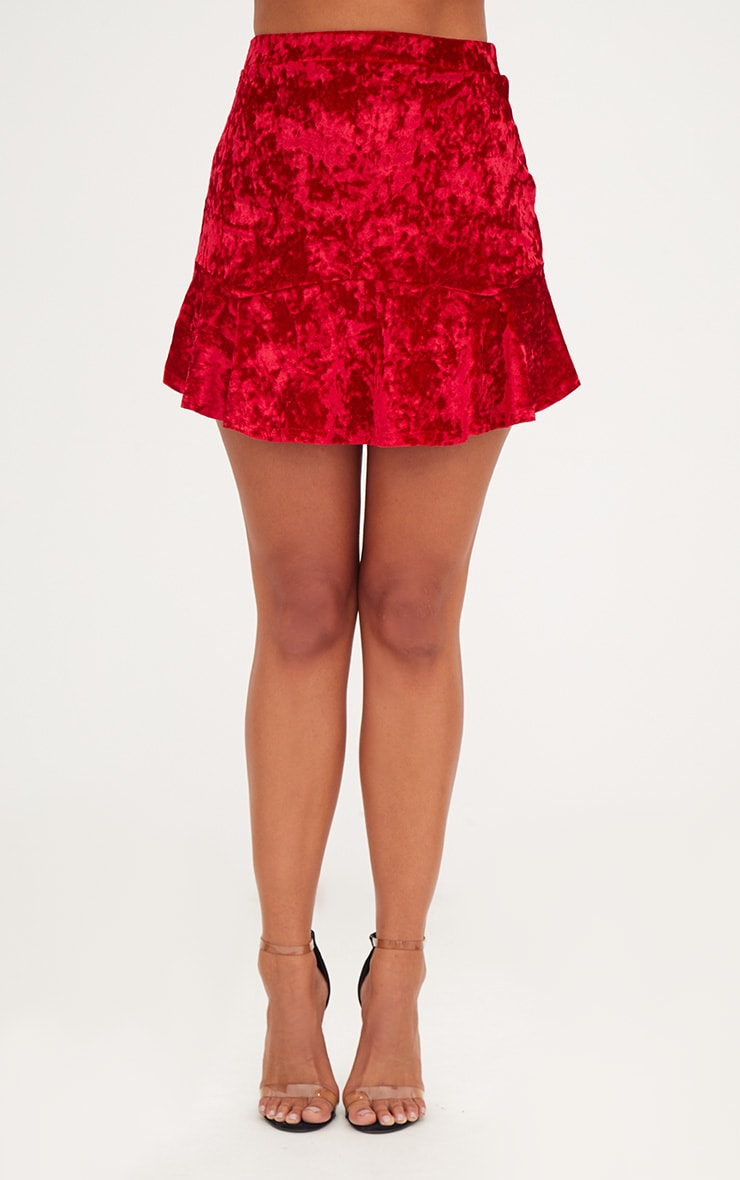 Red Velvet Flippy Hem Mini Skirt 2