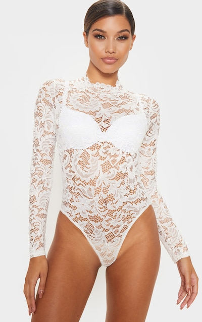 White Sheer Lace Scallop Detail Bodysuit
