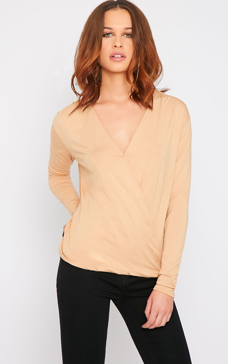 Alaia Camel Long Sleeve Wrap Top  1