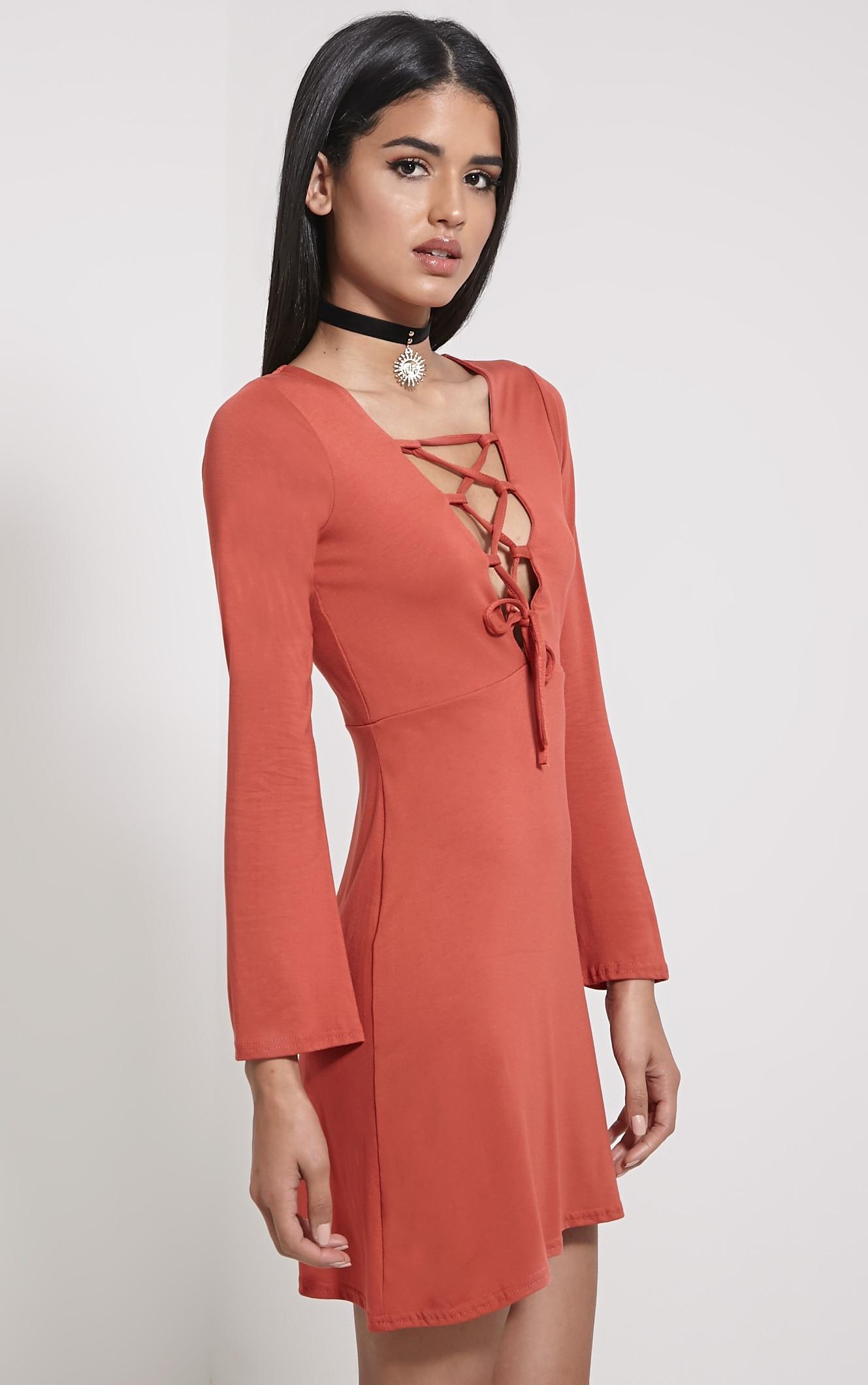 Remilda Rust Lace Up Jersey Dress 4