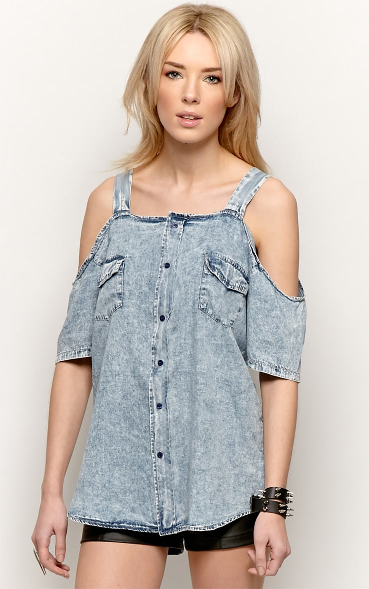Vita Denim Cut Out Shoulder Shirt-S/M 1