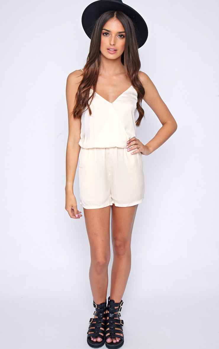 Jodie Champagne Silk Feel Wrap Playsuit  3