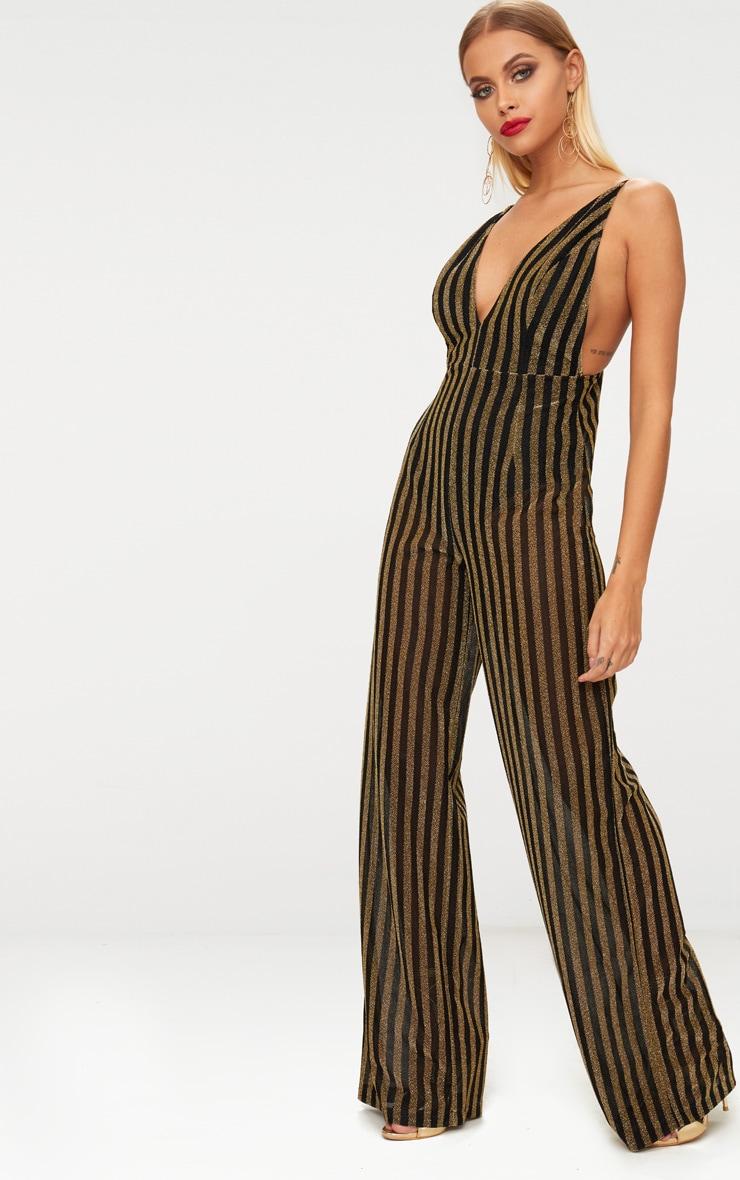 Gold Striped Plunge Jumpsuit 4