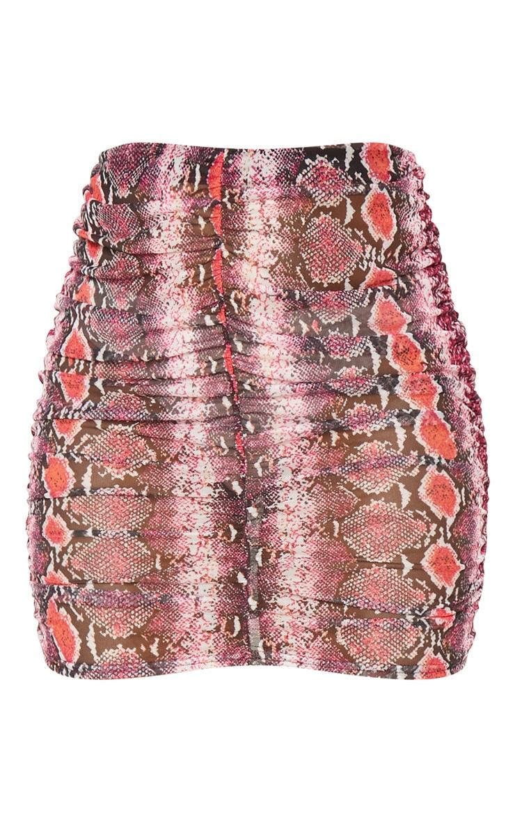 Pink Mesh Snake Print Ruche Mini Skirt 3