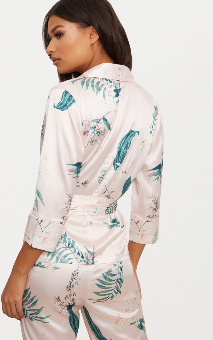 Blush Satin Floral Printed Long Sleeve Belted Blouse 2