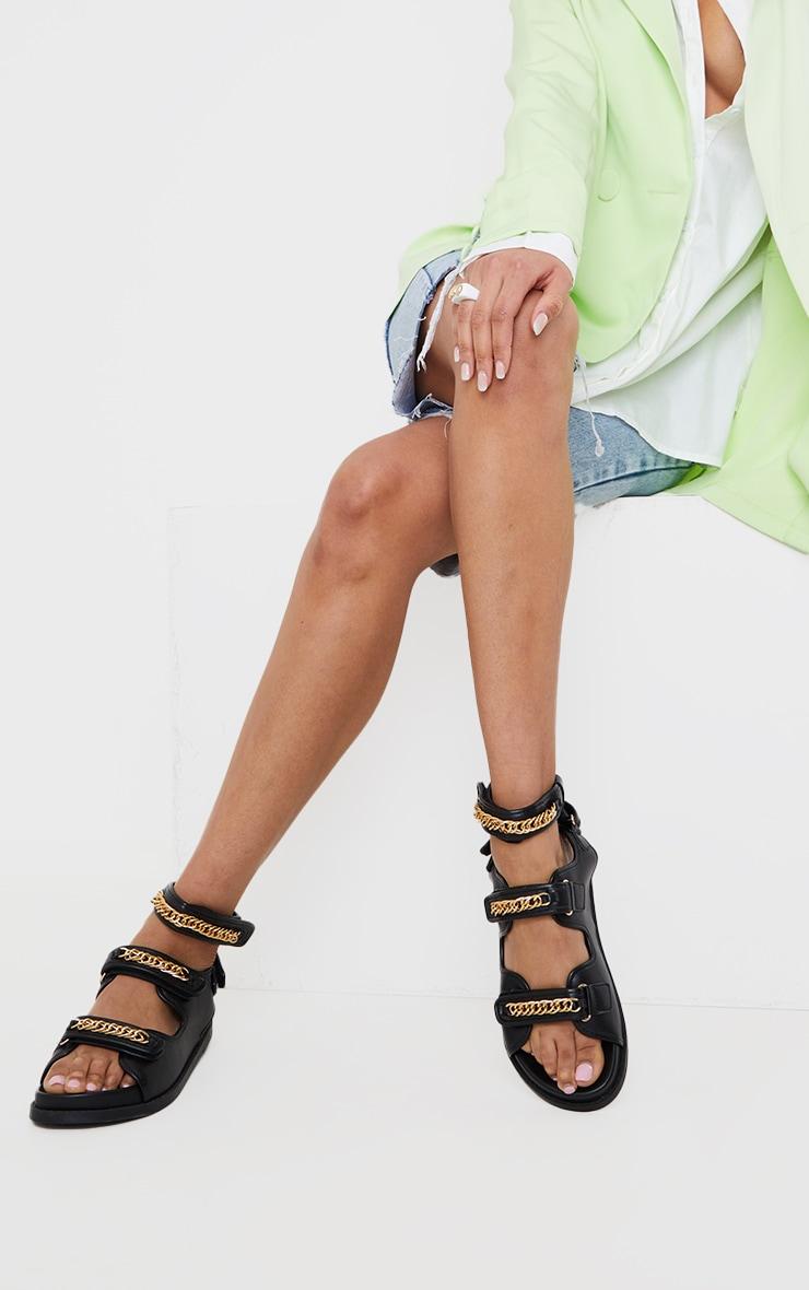 Black PU Triple Chain Detail Footbed Sandals 1