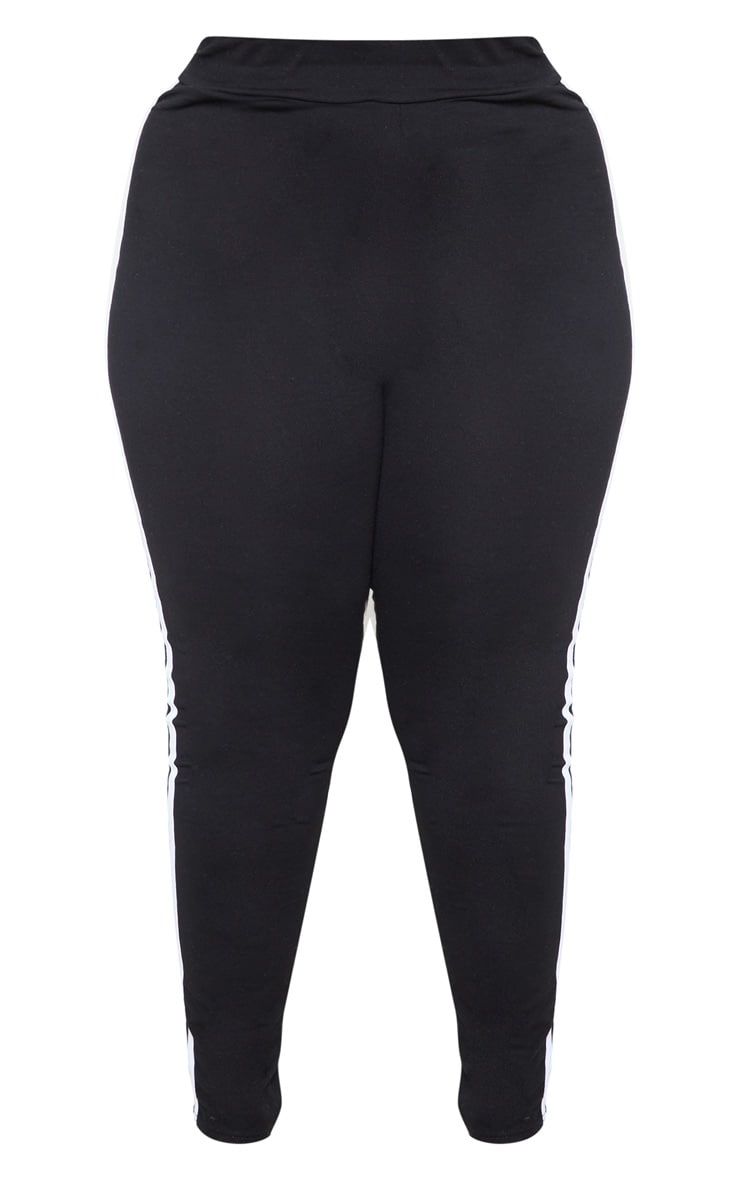 Plus Black Sports Stripe Leggings 4