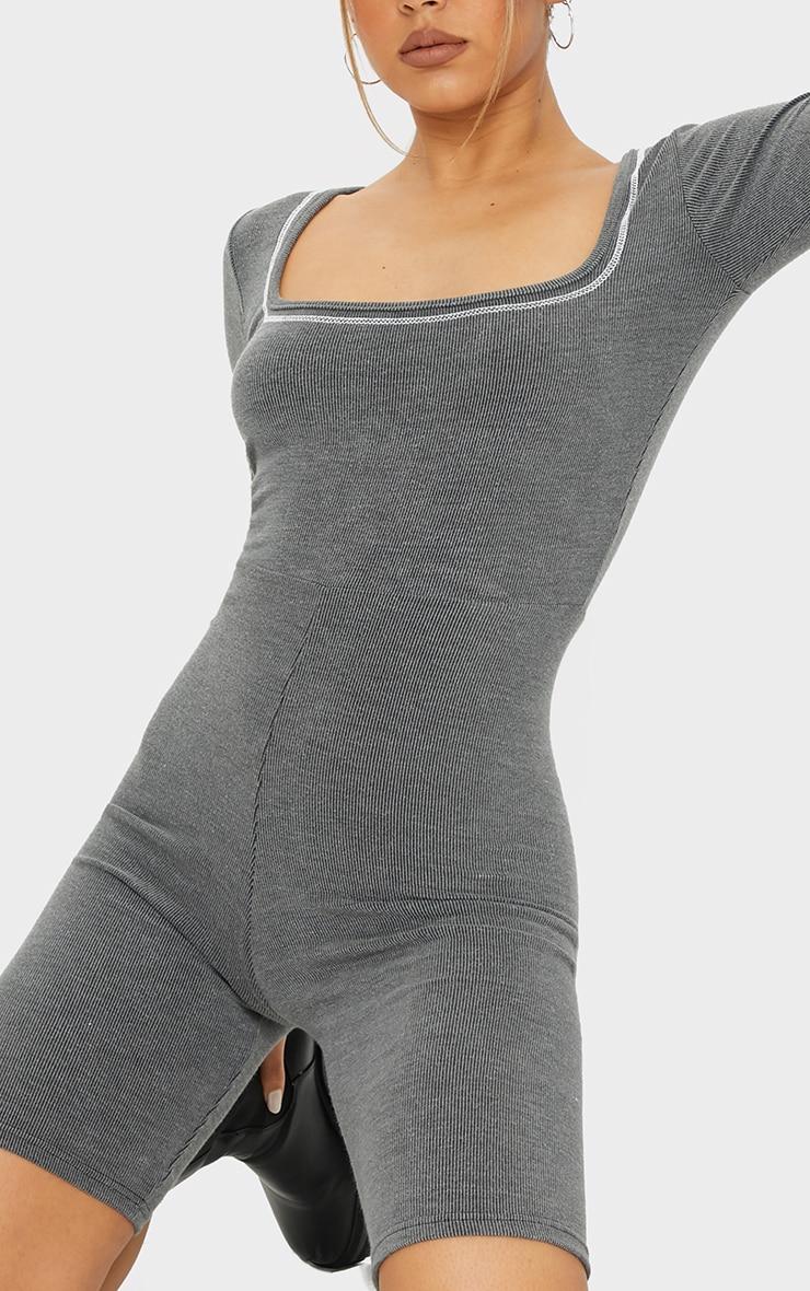 Grey Rib Seam Detail Long Sleeve Unitard 4