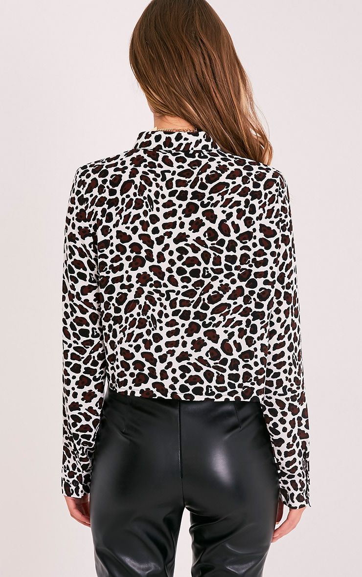 Harley White Animal Print Woven Cropped Blouse 2