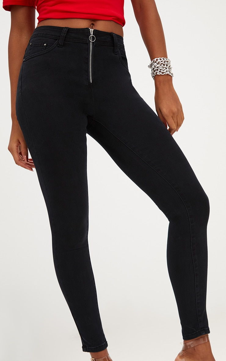 Black Small Ring Detail Skinny Jean  5