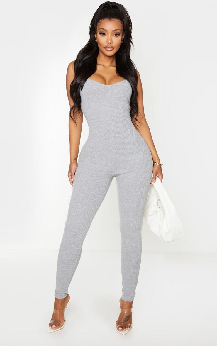 Shape Grey Brushed Rib Strappy Jumpsuit 1