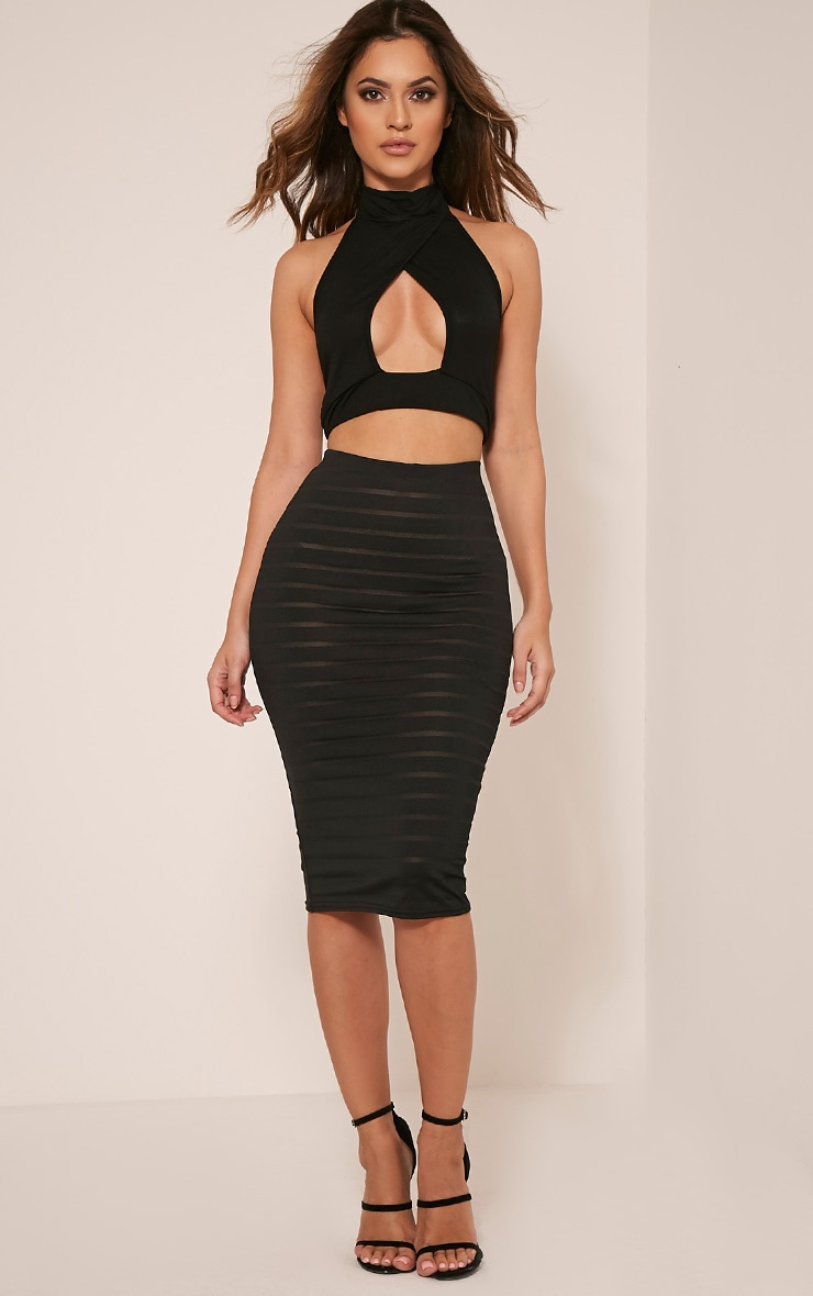 Susanah Black Sheer Stripe Midi Skirt 1