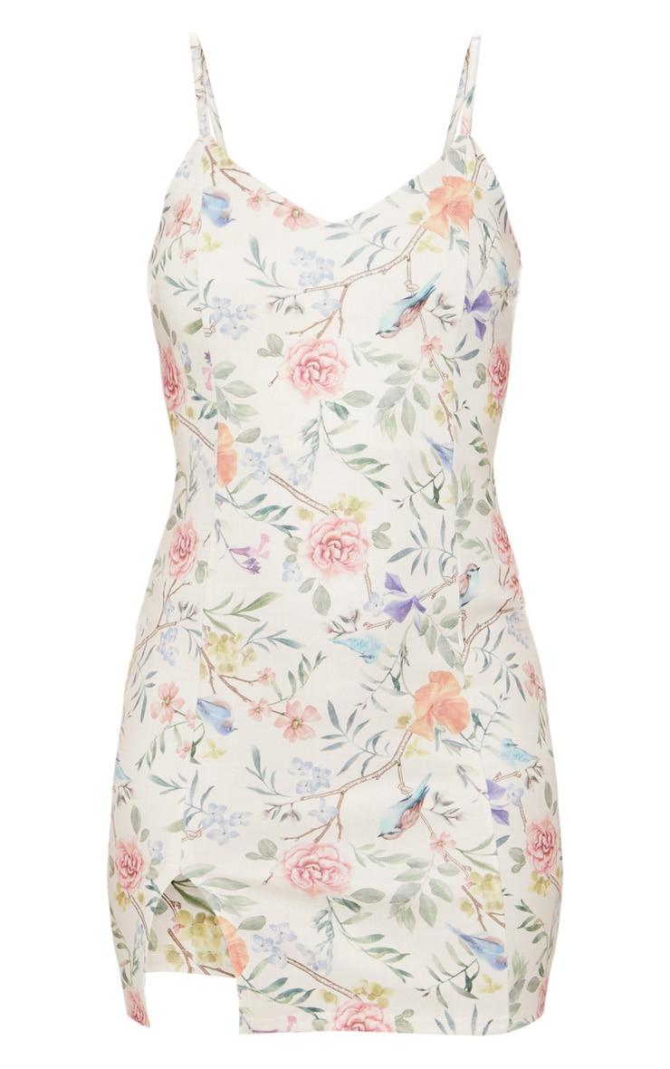 Cream Floral Print Plunge Split Detail Bodycon Dress 3