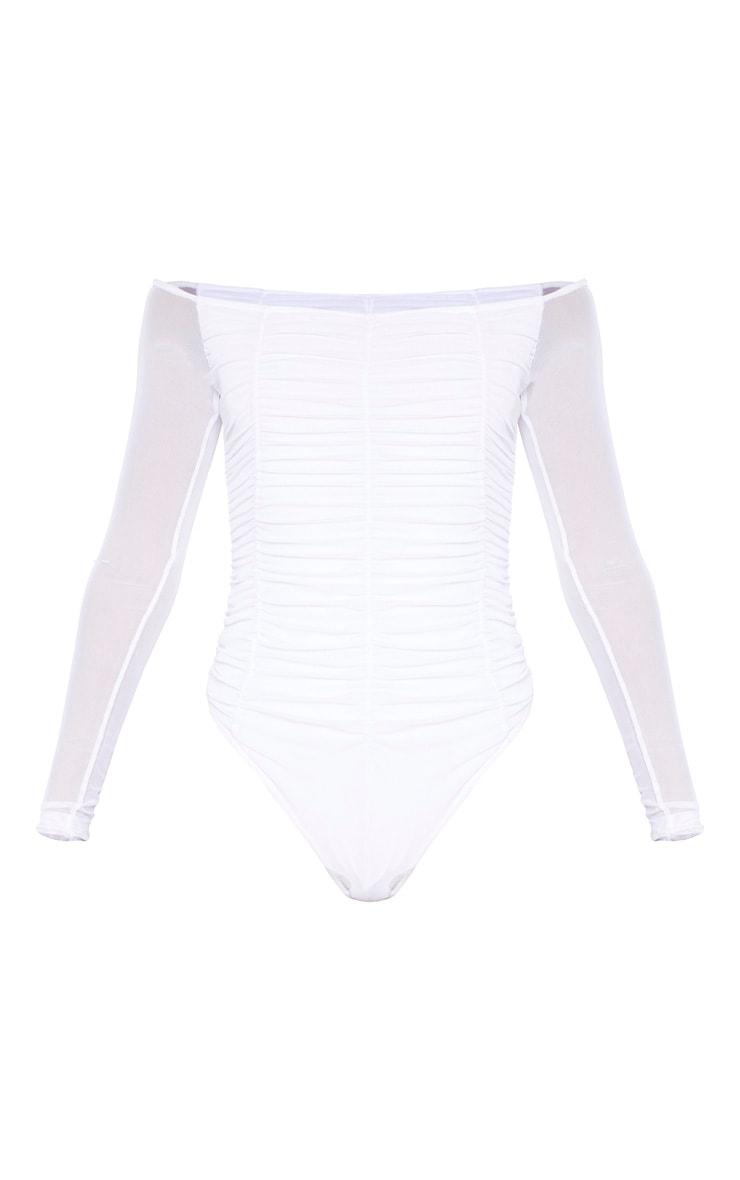 White Mesh Ruched Panel Bardot Bodysuit 3
