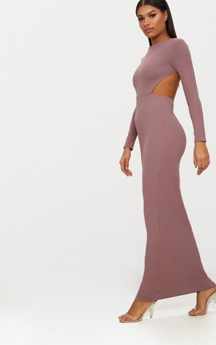 Dark Mauve Backless Long Sleeve Maxi Dress 4