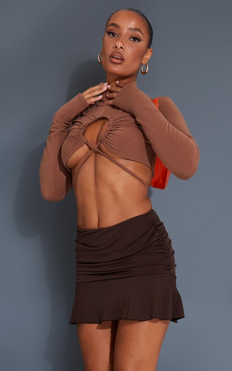 Chocolate Ruched Slinky Frill Hem Mini Skirt 1