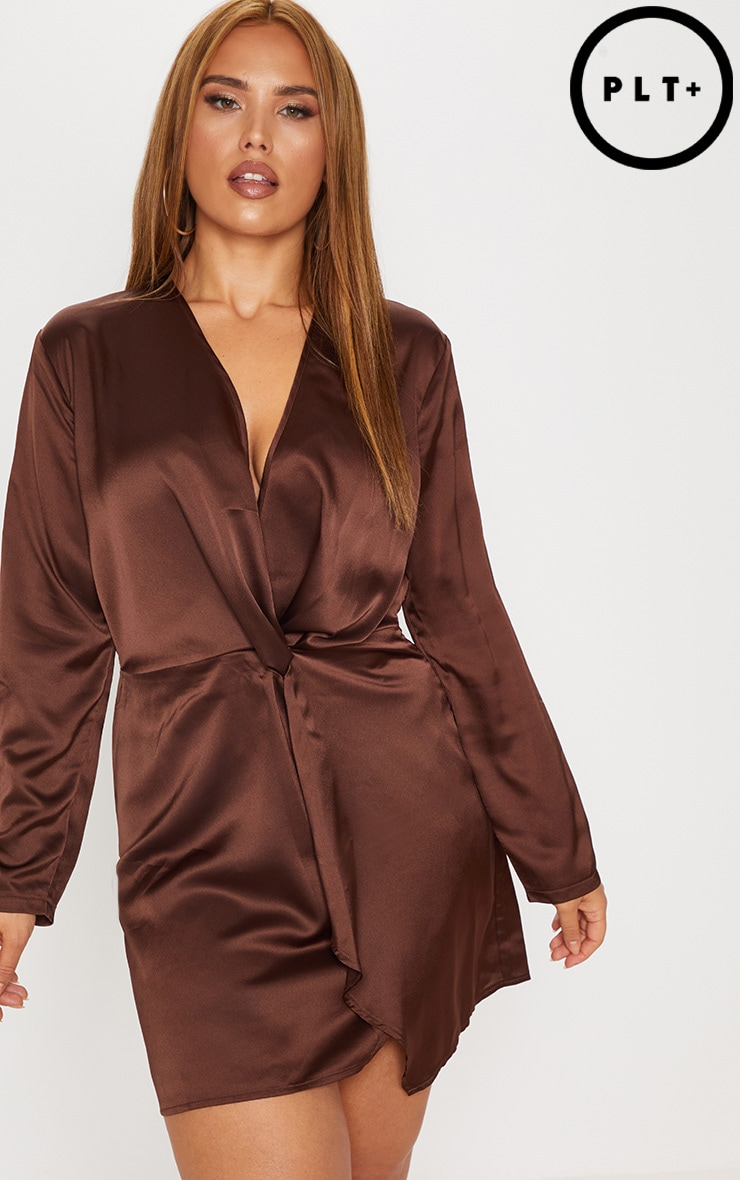 Plus Chocolate Brown Satin Long Sleeve Wrap Dress