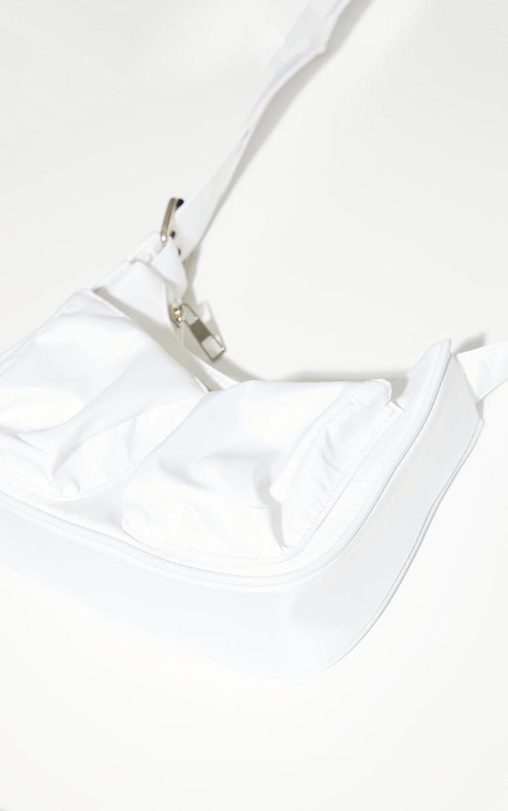 White Nylon Multi Eyelet Strap Cross Body Bag 3