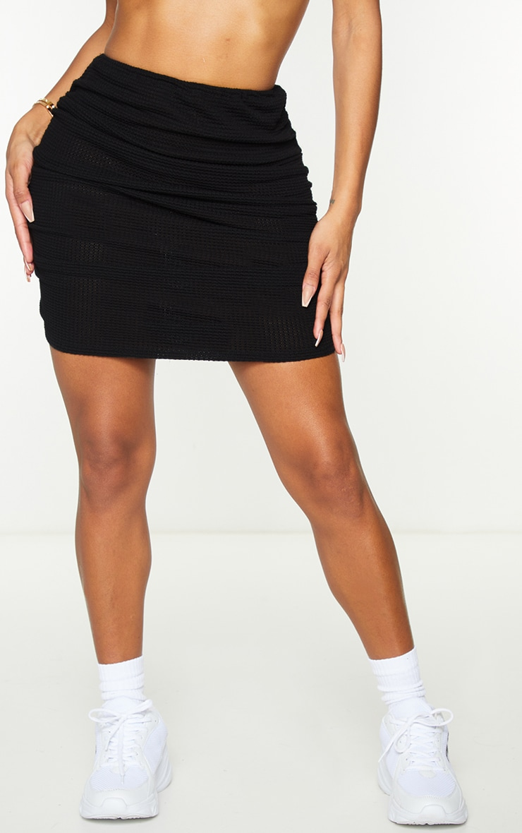 Shape Black Knit Ruched Side Bodycon Skirt 2