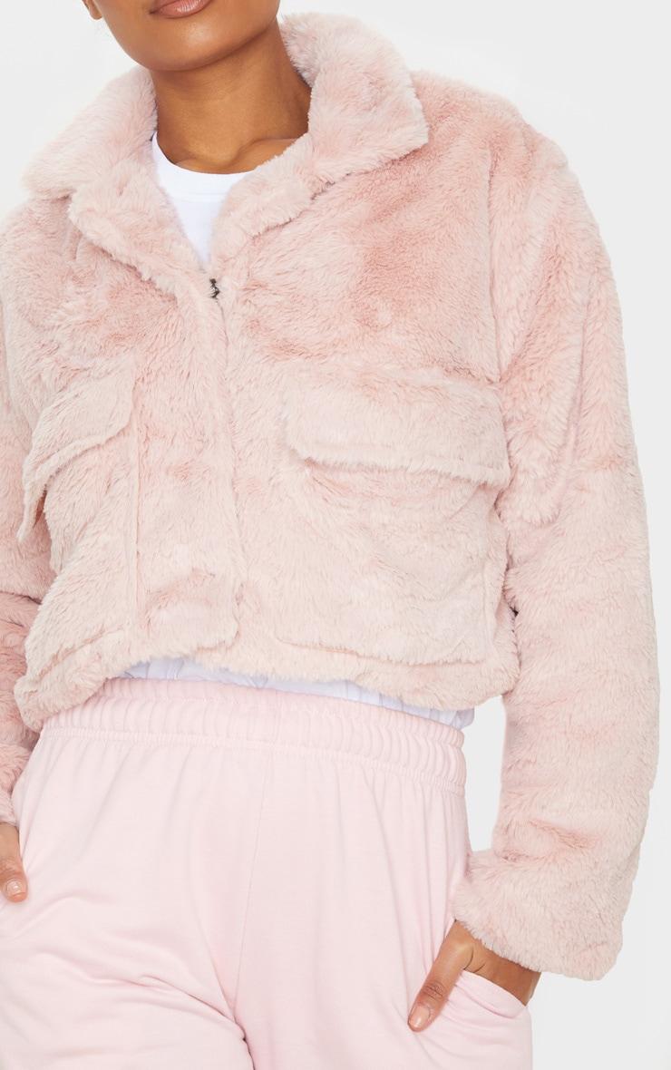 Dusty Pink Faux Fur Cropped Pocket Jacket 5