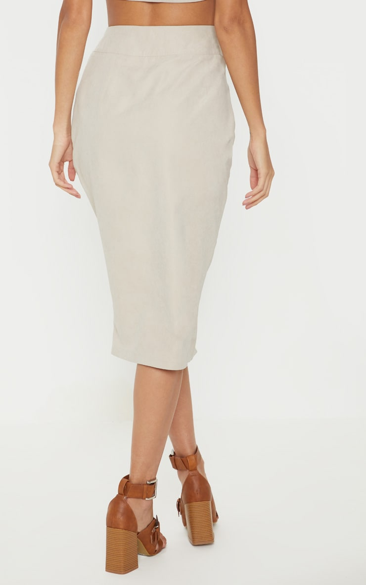 Stone Faux Suede Button Front Midi Skirt 4