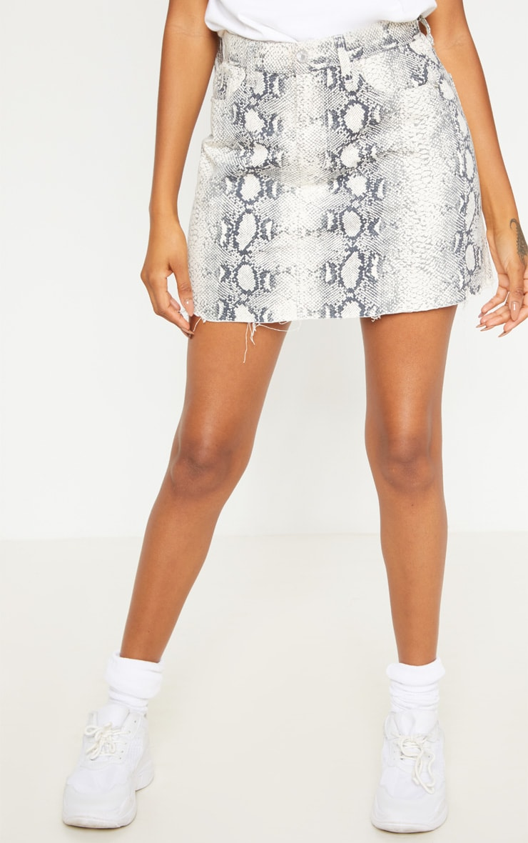 Grey Snake Print Denim Mini Skirt  2
