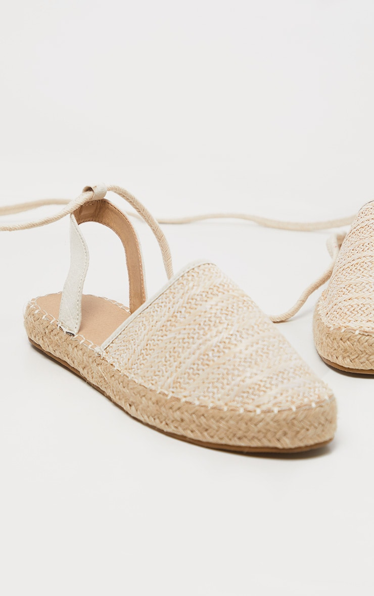 Natural Lace Up Espadrille Flat Sandal 3