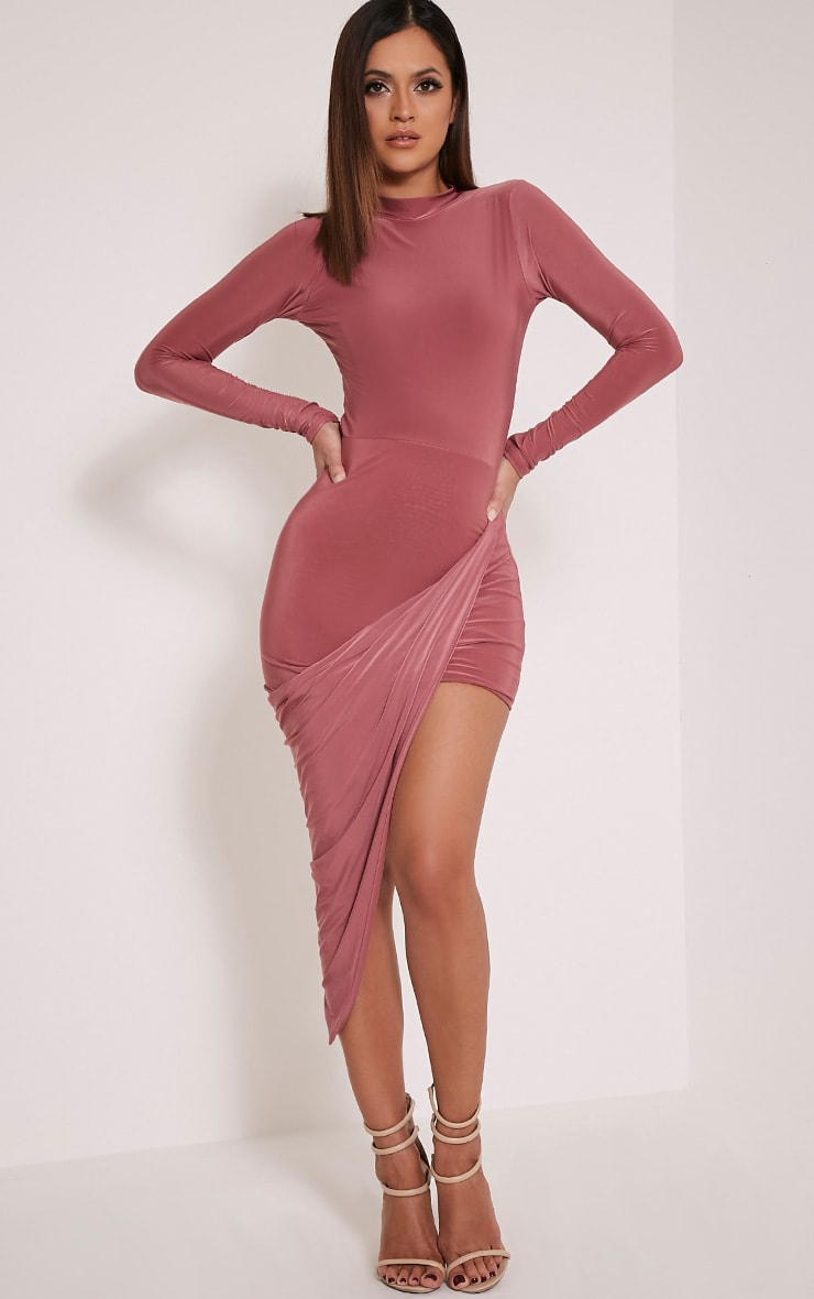 Petite Saffy Rose Long Sleeve Drape Dress 1