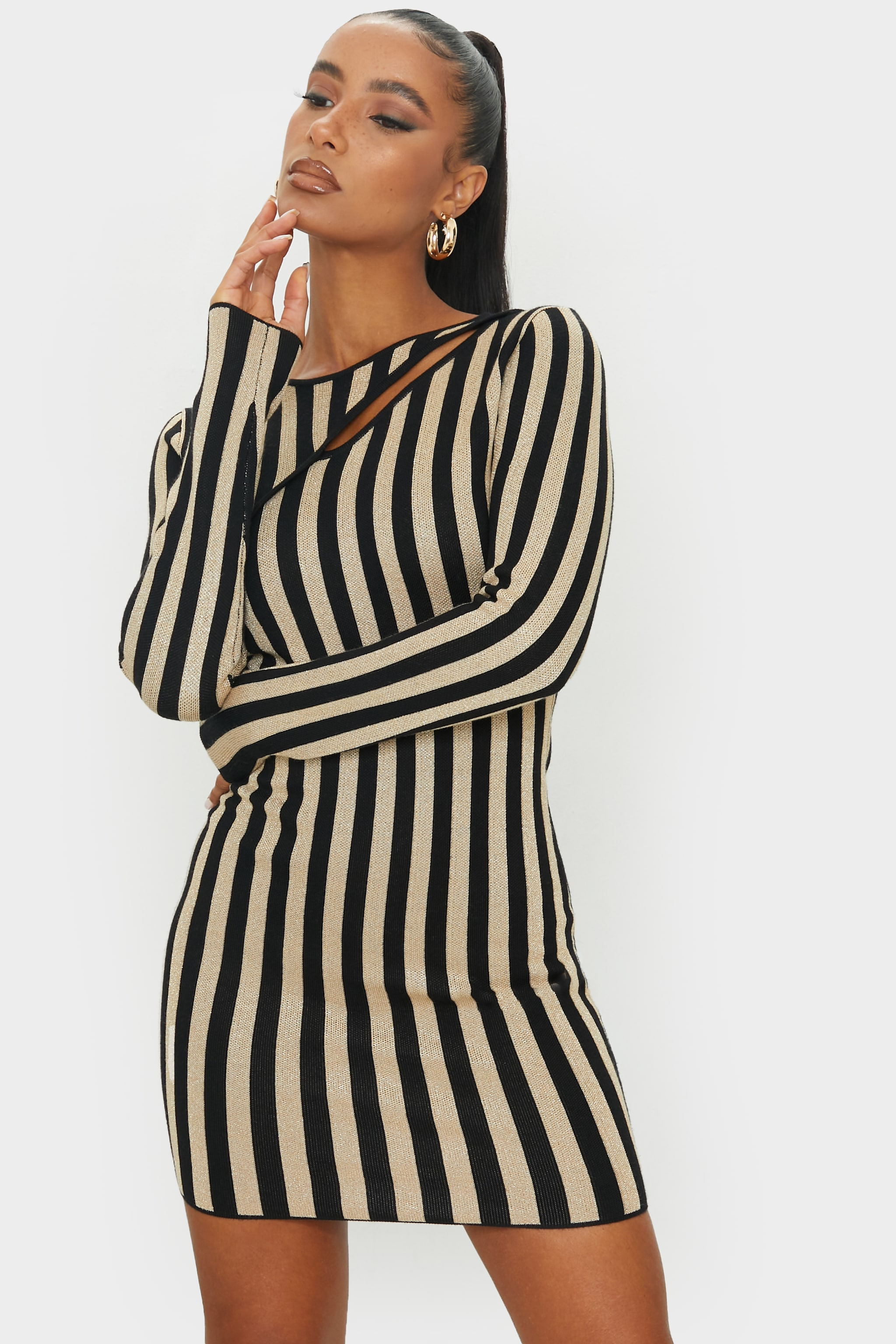 Black Striped Knitted Bodycon Mini Dress 1