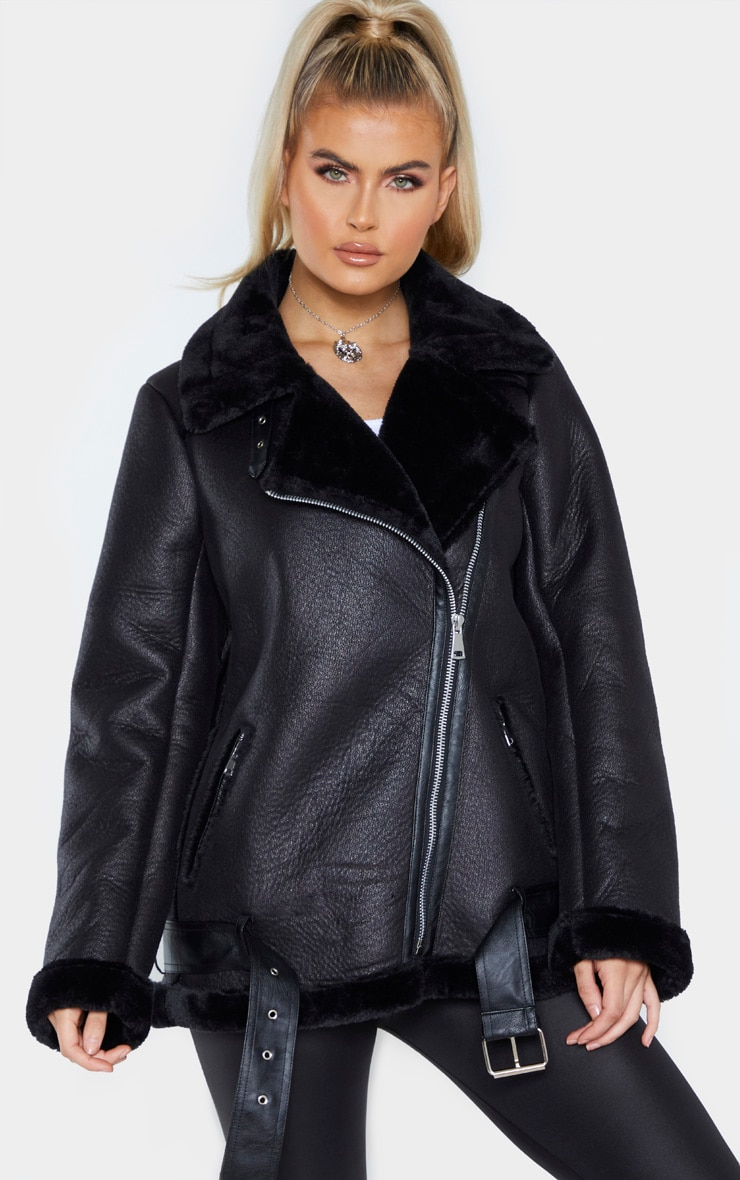 Tall Black Oversized PU Aviator 1