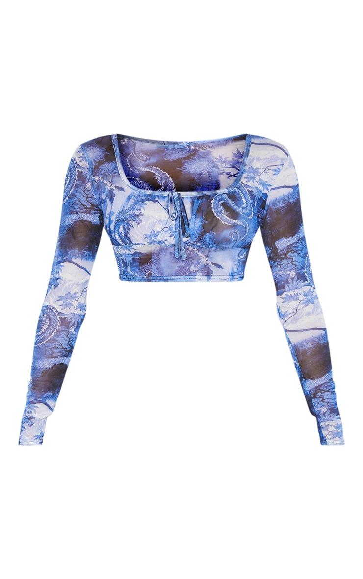 Blue Dragon Printed Sheer Mesh Elastic Tie Crop Top 3