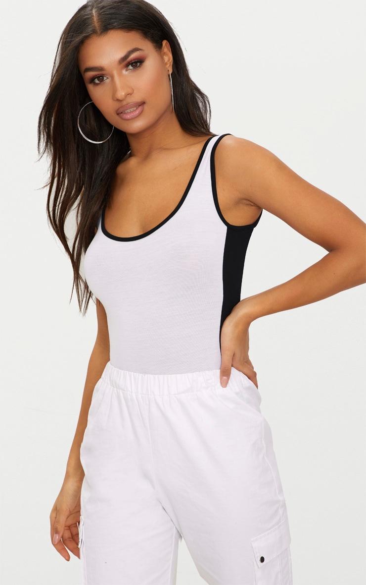 35f6abb2cc White Contrast Sport Stripe Thong Bodysuit image 1
