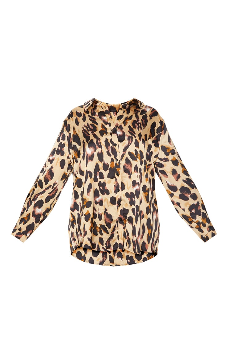 Plus Brown Leopard Print Oversized Shirt 3