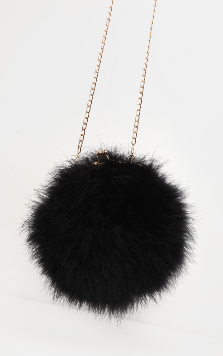 Black Marabou Feather Cross Body Bag 4