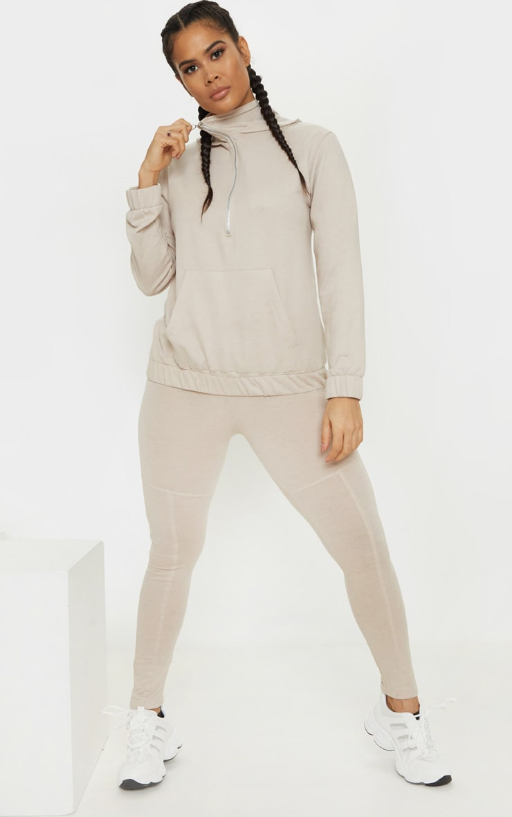 Oatmeal Marl Panel Gym Legging 1