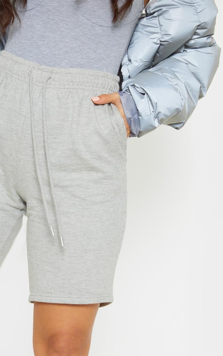 Grey Drawstring Sweat Longline Shorts 6