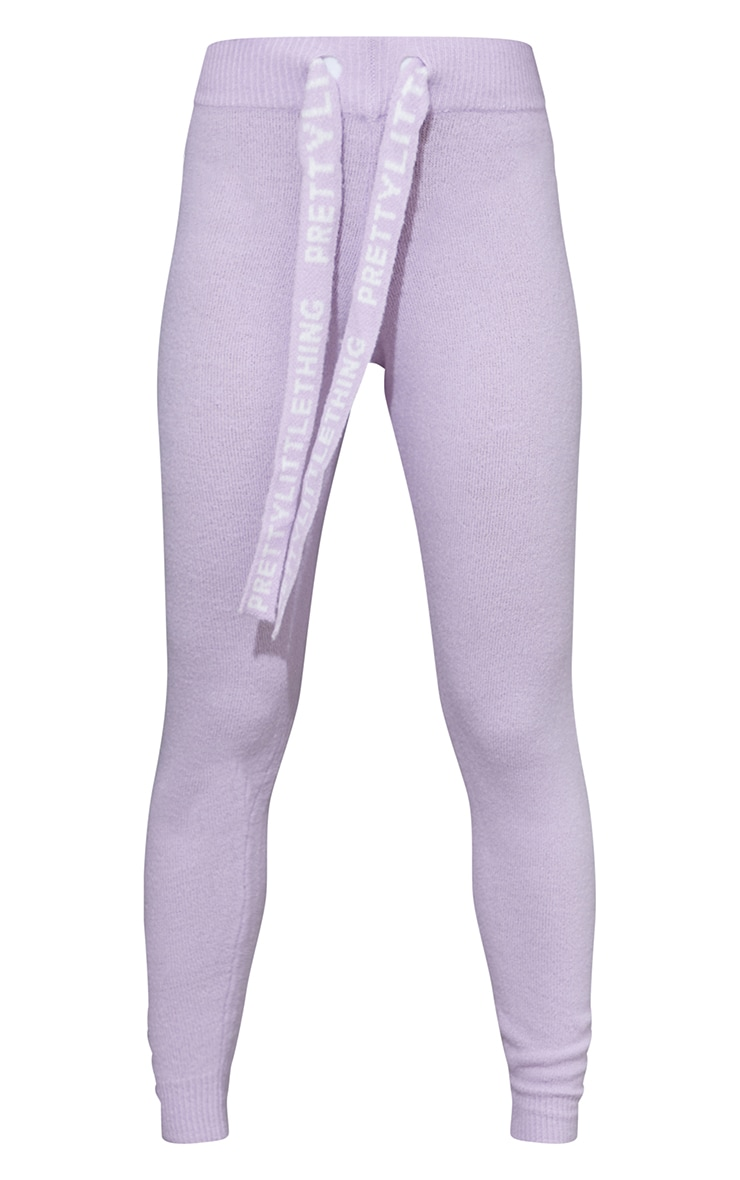 PRETTYLITTLETHING Lilac Soft Knitted Sweat Pants 5
