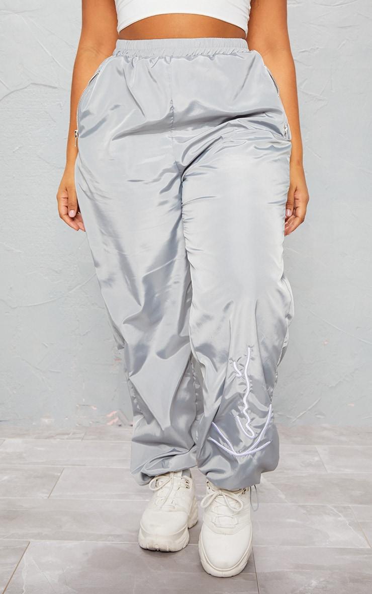 KARL KANI Ice Grey Embroidered Shell Joggers 4