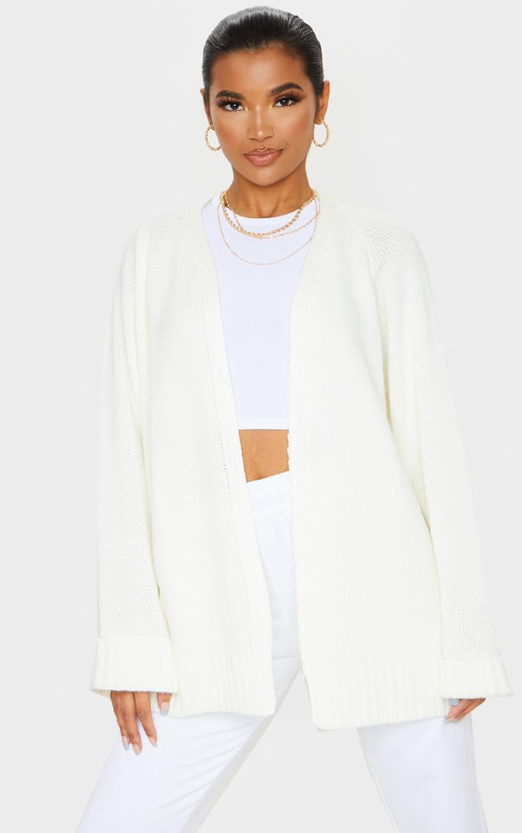 Cream Fluffy Knit Cardigan 1