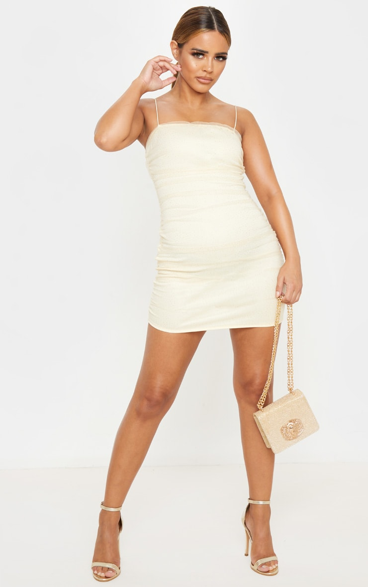 Petite Nude Glitter Polka Dot Mesh Strappy Mini Dress  4