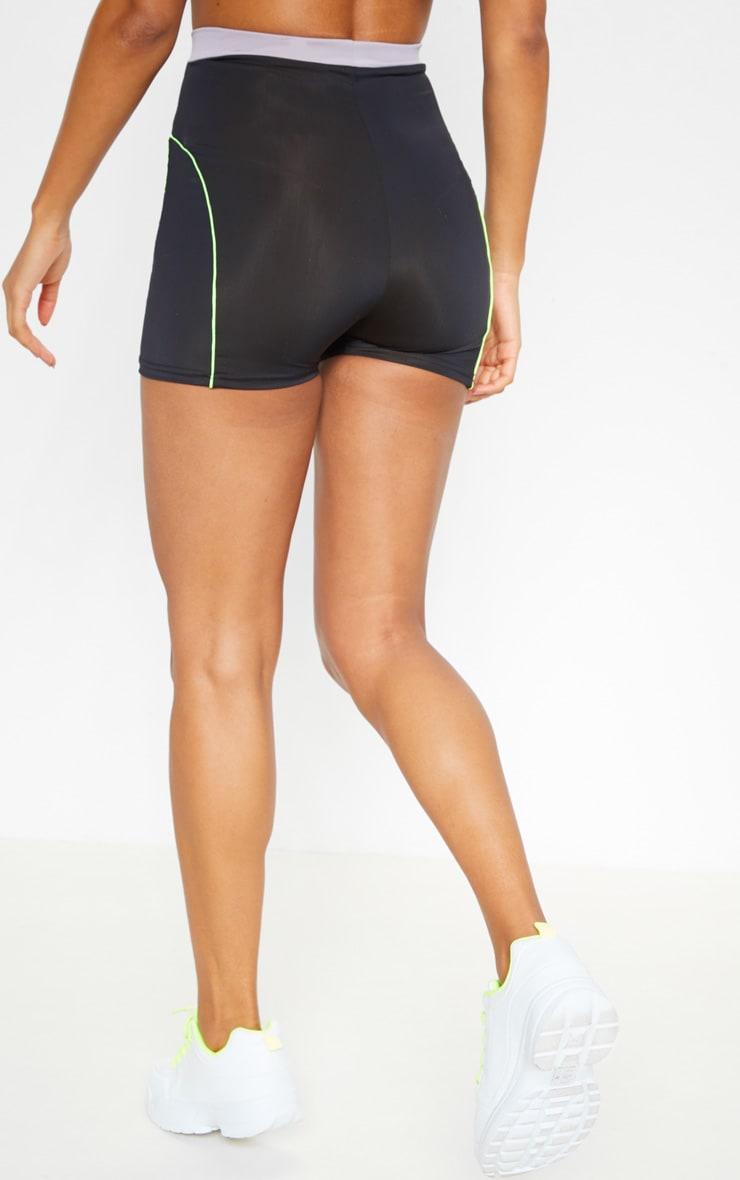 Black Contrast Binding Gym Hot Pants 3