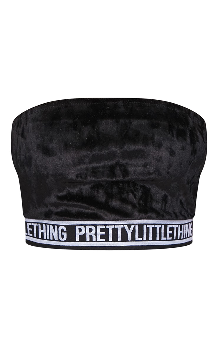 PRETTYLITTLETHING Black Velvet Bandeau 2