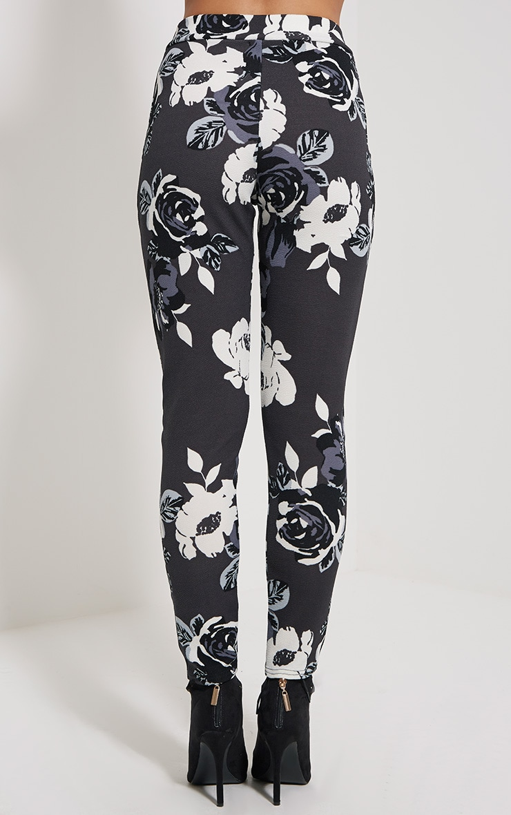 Zafier Grey Floral Trousers 4